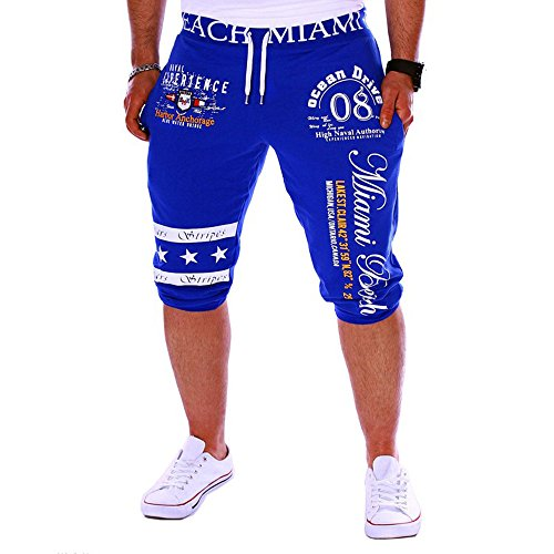 UJUNAOR Herren Bermuda ShortsGedruckte Super Gemütlich Sommer Paare Strand Trunks Jogginghose Sport Chino Cargo Hosen Freizeit-Shorts für Männer(Blau,EU 54/CN XL)
