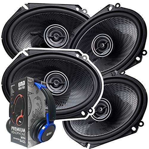 2 Pairs of Kenwood 6x8 360W 2-Way Coaxial Car Audio Speakers | (4 Speakers) + EMB Premium Headphone