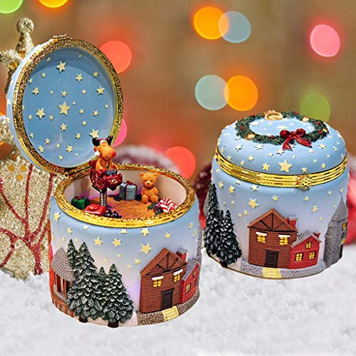 YIXIN2013SHOP Music Box Glowing Elk and Christmas Tree Music Box, 18-tone Music Box, Creative, Music Wish You a Merry Christmas Musical Boxes for Women Girls (Color : B)