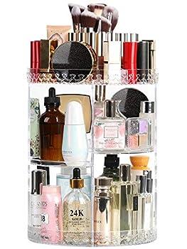 Syntus Rotating Makeup Organizer 360 Adjustable Cosmetic Carousel Spinning Holder Rack Large Capacity Makeup Storage Box Vanity Shelf Countertop for Bathroom Lipsticks Brushes Clear