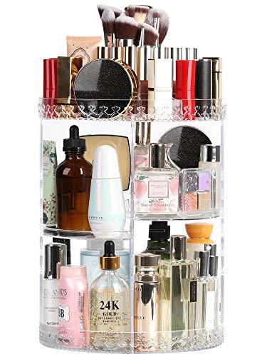 Syntus Rotating Makeup Organizer, 360 Adjustable Cosmetic Carousel Spinning Holder Rack, Large Capacity Makeup Storage Box Vanity Shelf Countertop for Bathroom, Lipsticks, Brushes, Clear