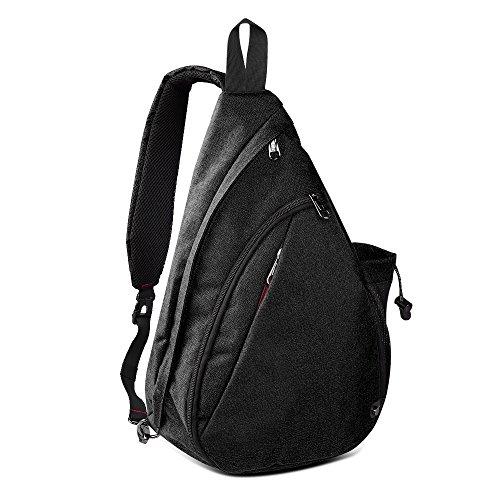 Sling Bag Damen und Herren, Outdoormaster Leichter Schulterrucksack Sling Rucksack Pack mit bequemem Material, multifunktionales Crossbag Brust Tasche Schleuder Tasche für Outdoorsport (Schwarz)