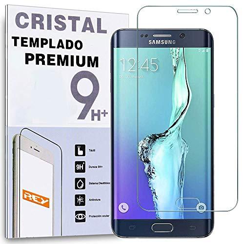 REY Protector de Pantalla Curvo para Samsung S6 Edge Plus en Color Transparente, Cristal Vidrio Templado Premium