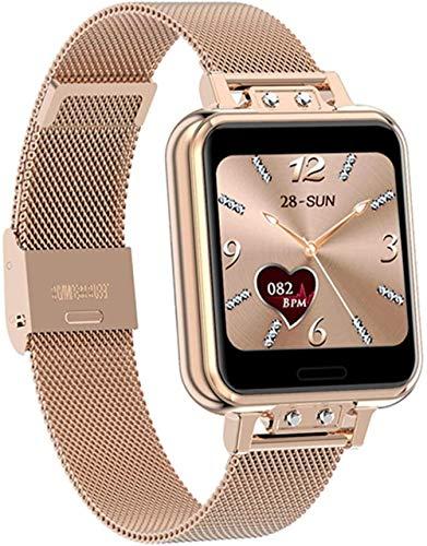 AMBM Reloj inteligente para mujer, Full Touch, impermeable, fitness, presión arterial, deportivo, reloj inteligente para mujer, GTS Smartwatch (color azul), dorado