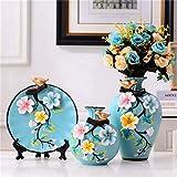 TANGIST Unique Decor - Juego de 3 estatuillas creativas de pintura en relieve, florero de cerámica, diseño de flores azules, decoración para sala de estar, dormitorio, entrada de casa, regalo