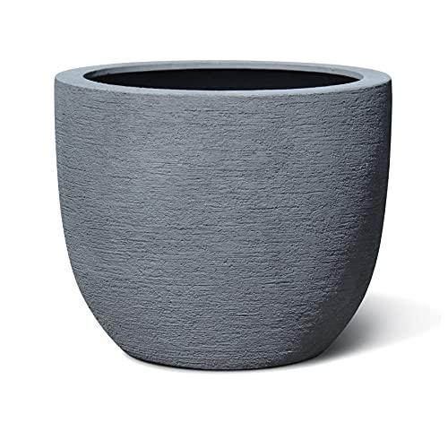 VAPLANTO® Pflanzkübel Egg Pot 50 Stein Grau Rund * 45 x 45 x 38 cm * 10 Jahre Garantie
