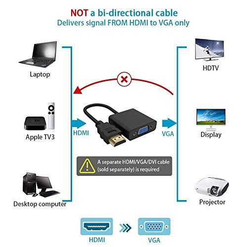 Rankie 1080P Active HDTV HDMI zu VGA Adapter (Stecker auf Buchse) Konverter mit Audio für PC, Monitor, Projektor, HDTV, Xbox und mehr
