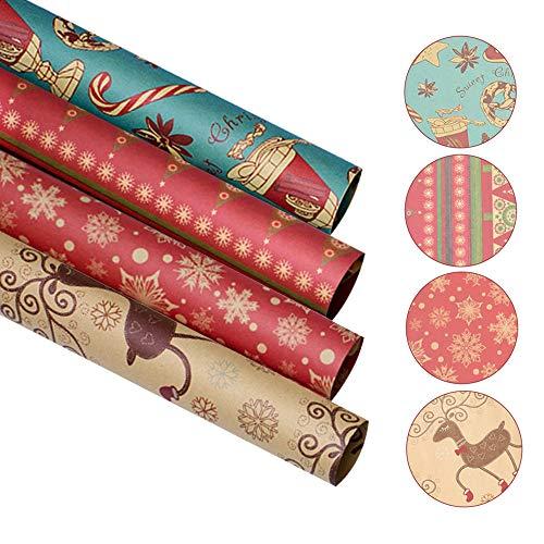 40 Hojas Papel Regalo Navideño, 4 Diseños Reciclable kraft Papel de Envoltura de Regalos Navidad para Cumpleaños Aniversario Año Nuevo Boda y Regalos Navidad (70 x 50 cm / 27,6 x 19,7 pulgadas,A)