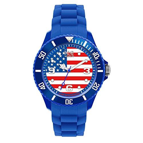 ICE-Watch - Montre Mixte - Quartz Analogique - Ice-World - USA - Big - Cadran Multicolore - Bracelet Silicone Bleu - WO.US.B.S.12