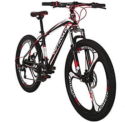 PanAme Mountain Bike 26 Inches Outroad 21 Speed Suspension Fork Anti-Slip Bicycle with Dual Disc Brake and High Carbon Steel Frame for Men and Women, Red