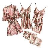 Bata Kimono Mujer, 5 Piezas Seda Satén Corto Kimono Bata Pijama Vestido de Encaje Conjunto de Lencería Albornoz Vestido de Dama de Honor de Camisón