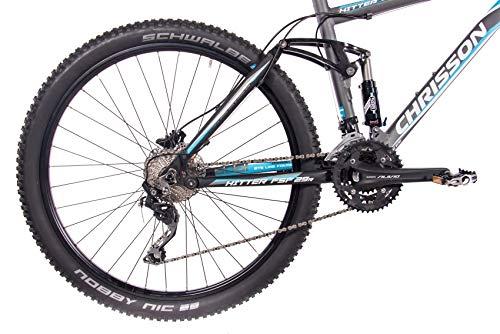 CHRISSON 29 Zoll Mountainbike Fully - Hitter FSF grau blau - Vollfederung Mountain Bike mit 30 Gang Shimano Deore Kettenschaltung - MTB Fahrrad für Herren und Damen mit Rock Shox Federgabel - 4