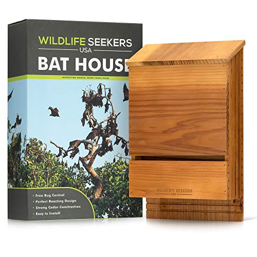 Wildlife Seekers USA - Premium Cedar Wood Bat House - Durable Double Chamber Bat Box for Outdoors - Easy to Mount Wooden Bat Shelter - Attracts and Lures Bats - Simple Eco-Friendly Skeeter Control