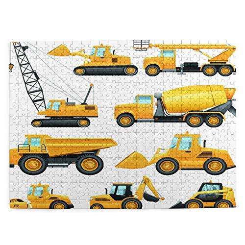 500 piezas puzzles para niños 52*38 cm madera construcción equipo y maquinaria con camiones grúa y bulldozer plana iconos set juguete regalo para niña niño niños adultos