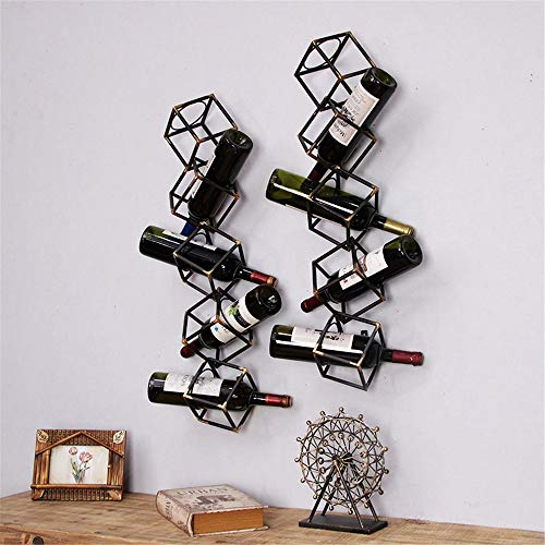 DQM Kreative fünf Etagen Vintage Metall Quadrat Weinregal Wand Wein, geeignet für Küchen, Restaurants und Bars, schmückt Ihre Leerstelle mit bunten Lieblingsweinen