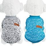SATINIOR 2 Pieces Pet Clothing Winter Puppy Classic Warm Coat Winter Puppy Sweater Puppy Knitwear Clothes (M, Grey, Blue)