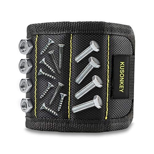 Magnetisches Armband, Kusonkey Werkzeuggürtel mit 15 leistungsstarken Magneten zum Halten von Schrauben/Nägeln/Bohrern/Muttern/Haken/Schlüssel/Winkel/Bits usw, Geschenk für Heim- & Handwerker,Männer