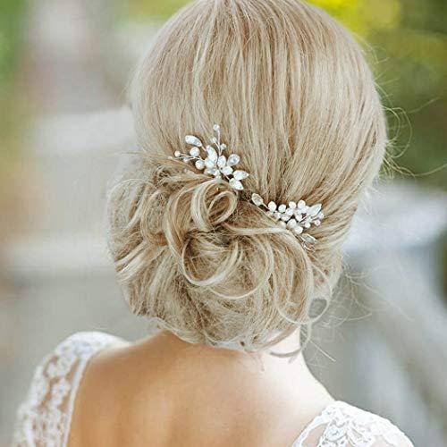 IYOU Horquillas para el pelo de boda de cristal plateado con perlas...