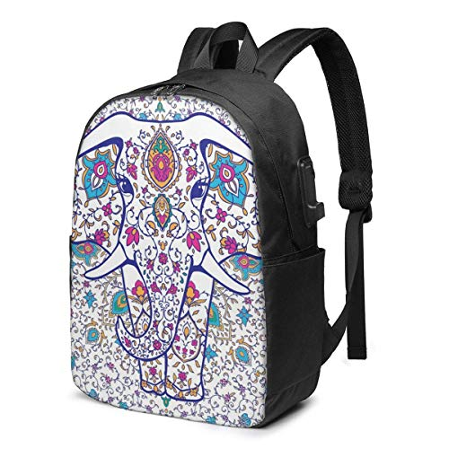 AOOEDM Laptop Backpack Aztec Elephant with Muticolor Water Resistant College School Bag with USB Charging Port