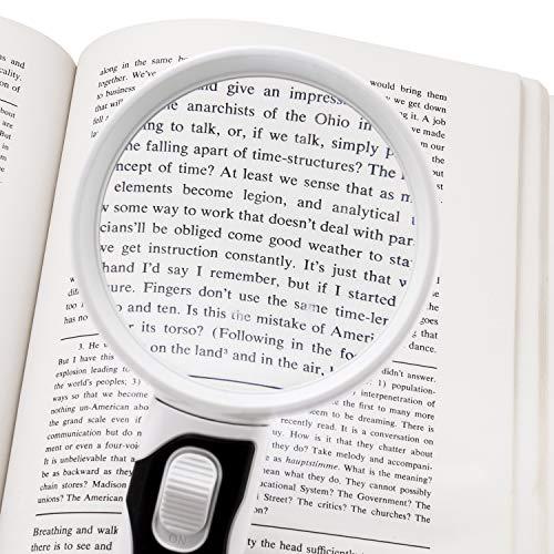 Fancii Handlupe Lupe mit LED Licht für Senioren, 3x 5x Fach (8 und 16 Dioptrien) – Beleuchtete Leselupe Starke Vergrößerung zum Lesen - 7