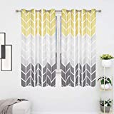 Grey Yellow Color Block Window Curtains, Gray Gradient Curtain Panels, Geometric Chevron Room Darkening Curtain Drapes with Grommets for Bedroom Living Room, Set of 2 Panels, 52 x 63 Inch