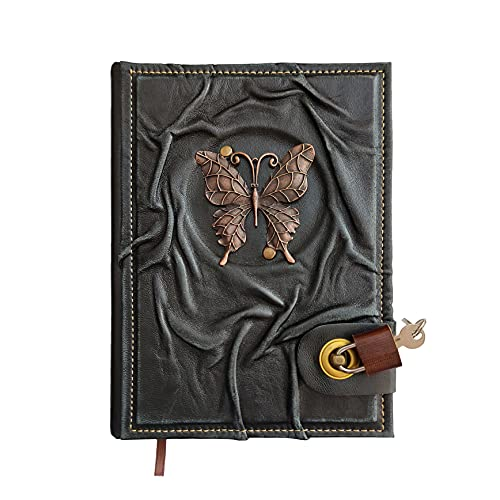 Fairy Butterfly Figured Locked Genuine Leather Notebook Diary, Handmade Journal With Lock, Secured Lockable Real Padlock, 9 x 6,7 Inches, Great Gift Travel Diary & Notebooks to Write in, Locked Journal, Chamois Paper, Gifts for Birthday, Anniversaries.