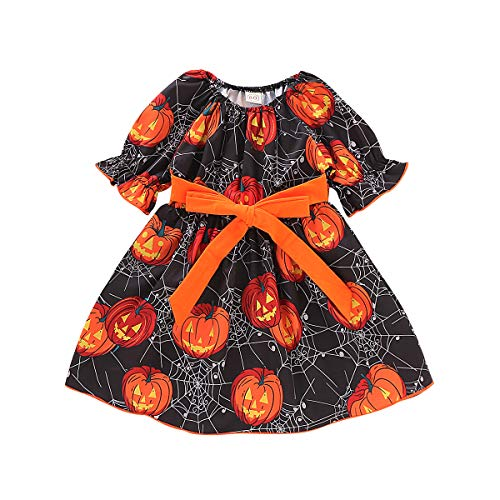 Baby Girl Halloween Dress Kids Girl Pumpkin Spider Skirts with Belt Halloween Day Clothes (Black, 2-3 Years)