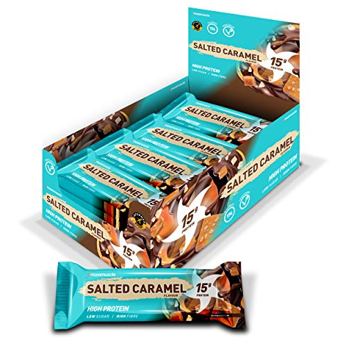 MAXIMUSCLE Protein Bars, Salted Caramel, 12 x 45g