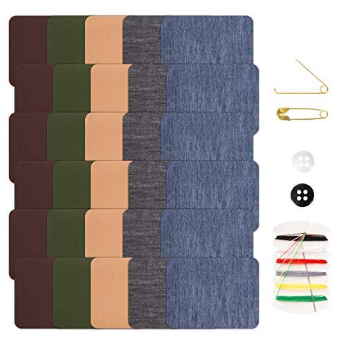 Naler 30 Parches Termoadhesivos Vaquero Parches Tela Adhesivos para Ropa Planchar y Coser (5 Colores)