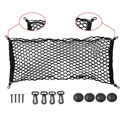 ideapro Rear Cargo Net, Bungee Car Elastic Netting Carrier Trunk Storage Organizer Net for SUV Jeep Truck, 35x12 Inch