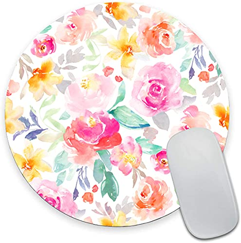 Floral Flowers Roses Mouse Pad, Bright Pink and Yellow Girly Watercolor Flowers Mouse Pad, Round Gaming Mouse Mat Waterproof Circular Small Mouse Pad Non-Slip Rubber MousePads for Office Laptop