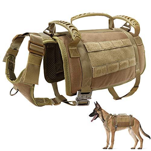 PET ARTIST taktisches Hundegeschirr mit 3 Griffen & 3 Leinen-Clips & 2 Metallschnallen, Militär Arbeits-Moll-Weste, kein Ziehen, Hundegeschirr für mittelgroße und große Hunde, Coyote Braun, L
