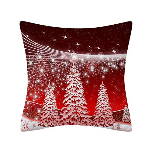 18x18 Inch Merry Christmas Pillow Covers Winter Snowman Red Truck Soft Cotton Linen Throw Pillow Cover Cushion Case for Living Room Couch Sofa Indoor Outdoor Christmas Home Decor