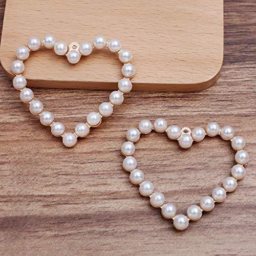 HGFJG 2 Unids/Lote 55 * 50Mm Colgante En Forma De Corazón Grande para Pendientes De Collar con Suministros De Fabricación De Perlas De Imitación Accesorios De Bricolaje