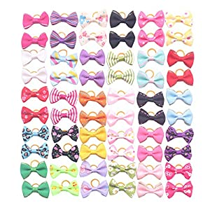 YAKA 60Pcs/30Paris Cute Puppy Dog Small Bowknot Hair Bows with Clips(or Rubber Bands) Handmade Hair Accessories Bow Pet Grooming Topknot Products 60pcs,Cute Patterns (Rubber Bands Style 6)