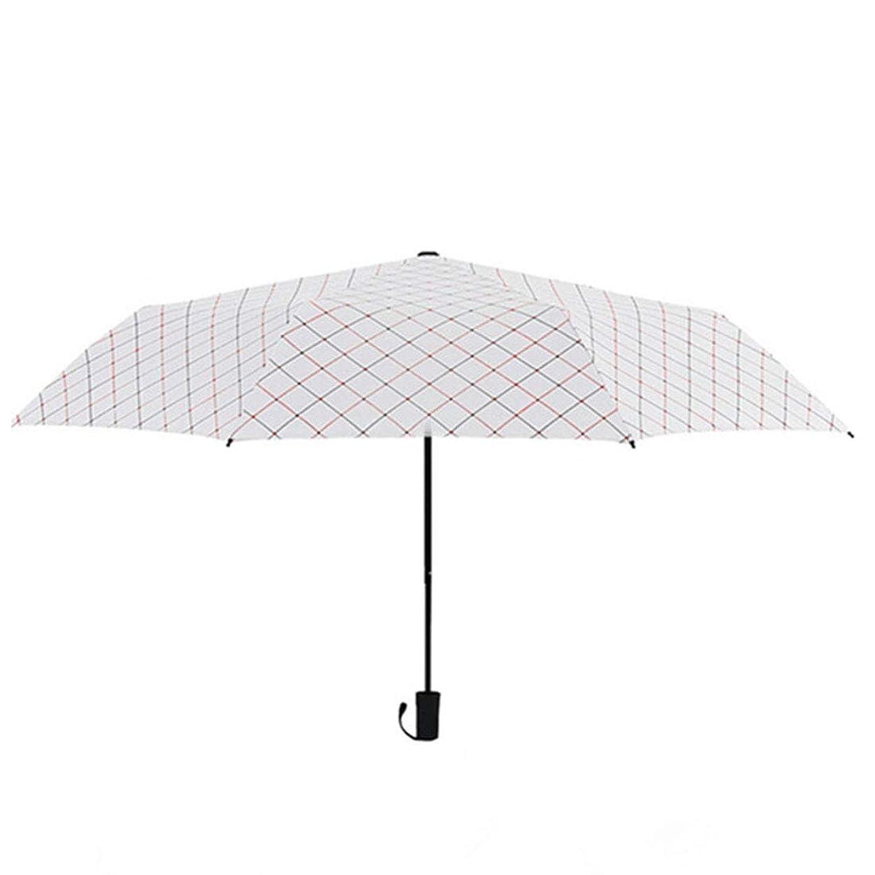 ドレス滞在ドナーJtydj 小さな新鮮な格子縞のビニール太陽の傘三つ折りのUV傘 (色 : ホワイト)