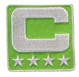 Lime Green Captain C Patch Iron On for Jersey Football, Baseball. Soccer,...