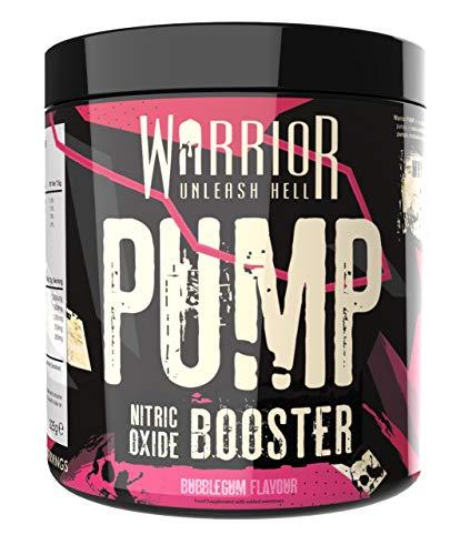 Warrior Supplements Pump Pre Workout Extreme Nitric Oxide Booster Powder, Bubblegum, 225 Gram