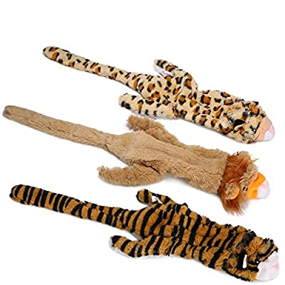Stuffing Free Dog Toys, No Stuffing Dog Chew Toys Set with Lion Tiger and Leopard Squeaky Plush Dog Toys for Small Medium Large Dogs - 3 Packs