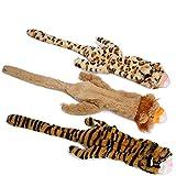 Juguetes para perros gratis, sin relleno, juguetes para masticar para perros, con tigre de león y leopardo, juguetes para perros pequeños, medianos y grandes, 3 paquetes