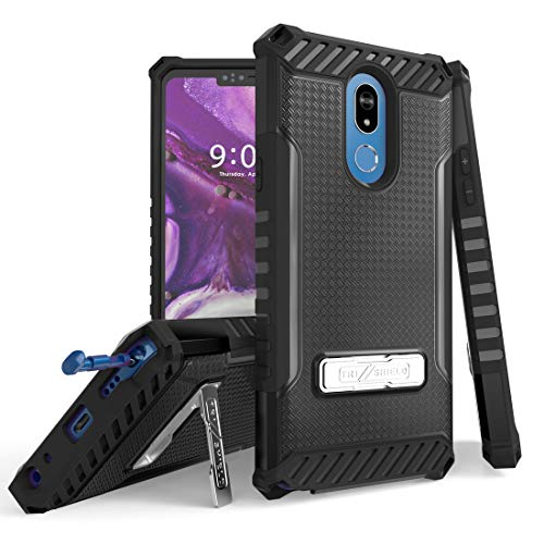 TJS Phone Case Compatible with LG Stylo 5/LG Stylo 5 Plus/LG Stylo 5V/LG Stylo 5X, Metal Kickstand Dual Layer Hybrid Shock Absorbing Resist Drop Protector Cover (Black)