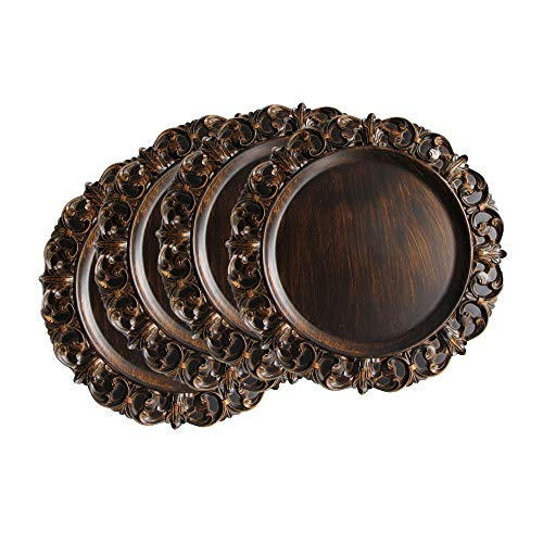 Charge it by Jay Avneir Set of 4 Charger Large Decorative Melamine Service Plate for Home & Professional Fine Dining-for Upscale Catering Events, Dinner Parties, 14', Brown/Ornate