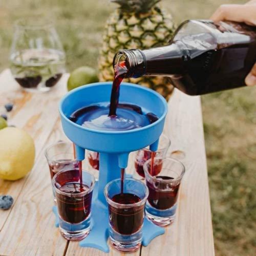 NO/A 6-Schnapsglas-Spender und Halter-Set - Spender zum Befüllen von Flüssigkeiten, Weinbecherspender, Mehrfach-6-Schuss-Spender, Bar-Schnaps-Spender, Cocktail-Spender (Blau, (rund ohne 6 weinglas))