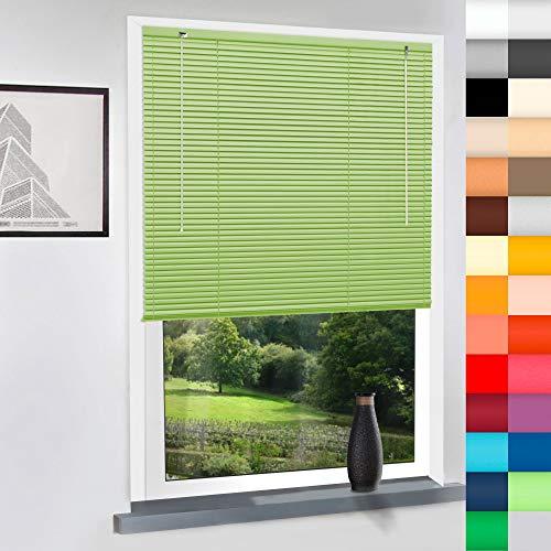 Sun World Aluminium Jalousie nach Maß, Alu Jalousien nach maß innen Innenjalousien Maßanfertigung, für Fenster und Türen, Decken und Wandmontage (Light Green, Höhe: 200cm x Breite: 55cm)