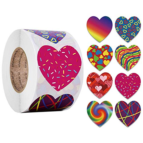 Valentine's Day Sticker,500 Pieces 1inch Heart Stickers,Gift Box Seal Sticker Wedding Party Envelope Label Stick,Multicolor Self-Adhesive Stickers for Valentine's Day Anniversaries Decorations (O)
