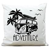 """Kissen """"Bulli Adventure"""" mit Palmen von Wandtattoo-Loft ® / Aus 100 % Polyester 40 x 40 cm /..."""