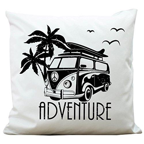 """Wandtattoo-Loft Kissen """"Bulli Adventure"""" mit Palmen 100% Polyester 40 x 40 cm/Mit Füllung und hochwertigem Aufdruck/Waschbar"""