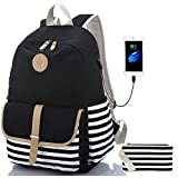 Sqodok Teen Girls Backpack for Middle School, Women College Charging Striped Bookbag with USB Charging Port Pencil Case, Lightweight Black 15.6inch Laptop Bag Travel Daypack