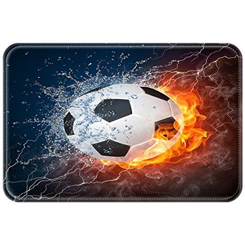 yisumei Alfombra Puerta Alfombrilla Felpudo Felpudo Sport Serie de fútbol soccer Fuego Flash, poliéster, Weiß, 40 x 60 cm