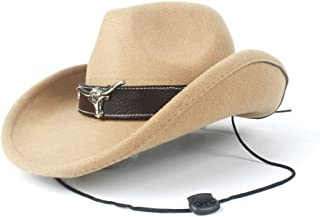 2019 Womens Hats Caps Womens Unisex Wool Western Cowboy Hat for Women with Punk Belt Wool Sombrero Hat Adult Church Hat Roll Up Hat Adjustable Fashion Foldable (Color : Khaki, Size : 56-58)